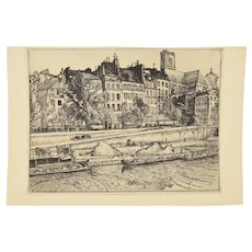 French Beaux Arts Etching River Barges Tied to Quays at St. Gervais, Paris