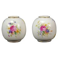 Pair Royal Worcester Hand Painted Miniature 2491 Vases by Kitty Blake