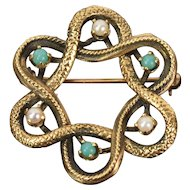 Vintage Estate 14k Solid Yellow Gold Knot Brooch Jade Seed Pearls