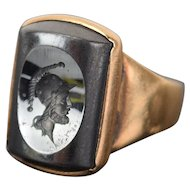Vintage 14k Solid Yellow Gold Ring Hematite Intaglio Seal with Warrior Head