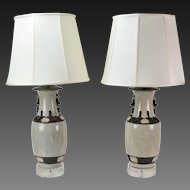 Early 20th Century Chinese Craquelure Vases converted to Lamps
