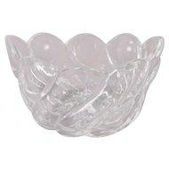 Steuben Art Deco Crystal Glass Oval Bowl Swirl Shape Bubbles Circles Pattern