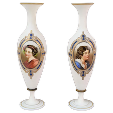 Pair 19th Century Hand Painted Bristol Glass Portrait Vases