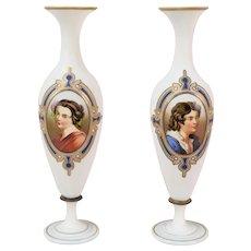 Pair 19th Century Hand Painted Bristol Glass Portrait Vases