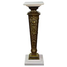 Art Nouveau Winged Nude Embossed Brass Pedestal or Sculpture Stand