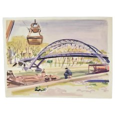 Andre Delfau Original Watercolor Painting Man Watching Canal Dredging