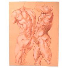 Original Pastel Drawing Muscular Male Torso Signed Kopala Chicago Artist