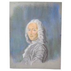 Original Pastel Drawing 18th Century Nobleman in White Wig Signed Kopala Chicago Artist