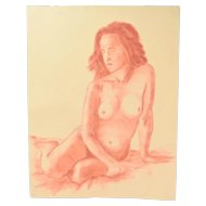 Original Pastel Drawing Seated Nude Woman Signed Kopala Chicago Artist