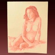 Original Pastel Drawing Seated Nude Woman Signed Kopala Chicago Artist