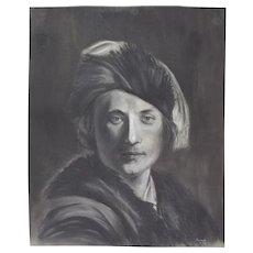 Original Pastel Drawing 17th Century Handsome Man In Hat Signed Kopala Chicago Artist