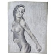 Original Pastel Drawing Nude Woman Sideview Signed Kopala Chicago Artist