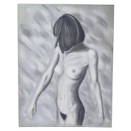 Original Pastel Drawing Nude Woman Turning Away Signed Kopala Chicago Artist
