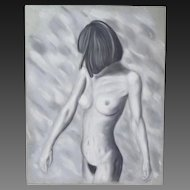 Original Pastel Drawing Nude Woman Turning Away Signed Kopala Chicago Artist