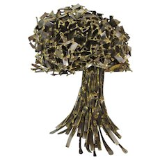 Vintage Modern Brutalist Metal Sculpture Abstracted Tree Chicago Artist Bitterman