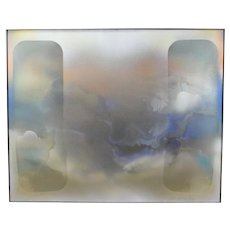 1975 Two Layer Abstract Acrylic Painting Latex Sheet over Canvas Richard Vaux