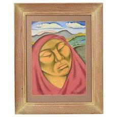 1939 Carlos Camara Mexican Watercolor Painting Portrait Contemplative Woman
