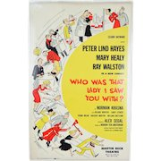 """1950s """"Who Was That Lady I Saw You With?"""" Broadway Theatre Lobby Card Poster"""