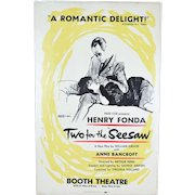 "1958 Original ""Two for the Seesaw"" Broadway Theatre Poster Fonda Bancroft"