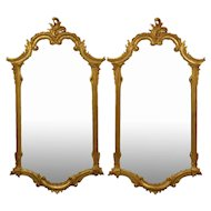 Fabulous Pair LaBarge Gilt C-Scroll Motif Carved Wood Wall Mirrors