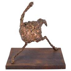 Vintage Mid-Century Modern Brutalist Abstract Running Ostrich Sculpture