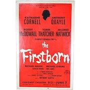 Orig Broadway Window Card The Firstborn Katharine Cornell Roddy McDowall