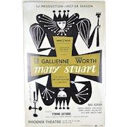 Orig 1957 Broadway Window Card Poster Mary Stuart Irene Worth