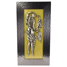Original Bas-Relief Wall Sculpture Woman with Shawl Orna Amrani