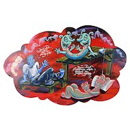 """""""Thought Party"""" Kate Barrere Whimsical Bizarre Painting Wood Plaque"""
