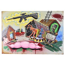 """""""Home Town"""" Kate Barrere Bizarre Painting on Metal Found Object"""
