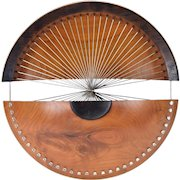 """""""Spokes"""" Modernist Burled Wood and Steel Sculpture Signed"""