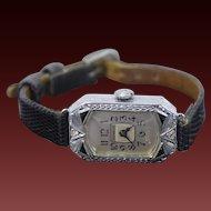 Vintage Geneve Art Deco 14k White Gold Filigree Women's Watch Diamond Sapphire
