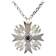 Large Vintage Jerusalem Silver Maltese Cross w/ Eagles Pendant & Chain Necklace