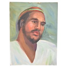 Vintage Oil Painting Portrait of Bearded Man with Beanie Hat