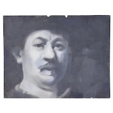 Vintage Oil Painting Black and White Portrait Rembrandt Style Man