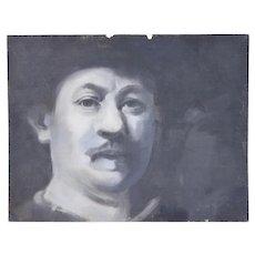 Vintage Oil Painting Black and White Portrait Rembrandt Style Man