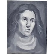 Vintage Oil Painting Black and White Portrait Long Haired Person