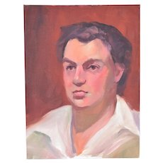 Vintage Oil Painting Portrait of Young Man in Wide Collared White Shirt
