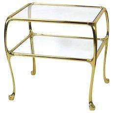 Art Nouveau Style Brass End Table Two-Tier Glass Shelves Cabriolet Legs