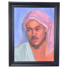 Vintage Oil Painting Portrait of North African Man in Pink Turban