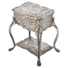 Antique Silver Miniature Side Table Cabriolet Legs  Figural Snuff Box Hanau Germany