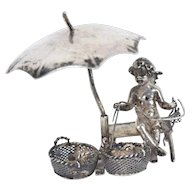 Antique .800 Silver Miniature Cherub Knitting Under Umbrella Hanau Germany