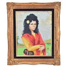 Vintage Oil Painting of Young Woman with Basket of Flowers