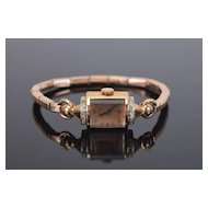 1940's Art Deco Lady Elgin 14k Solid Rose Gold Diamond Ladies Wrist Watch