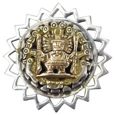 Vintage 18k Yellow Gold Sterling Convertible Pendant Brooch Inca Aztec Mayan Figure