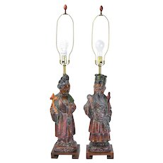 Vintage Pair Frederick Cooper Figural Lamps Chinese Asian Noble Man and Woman