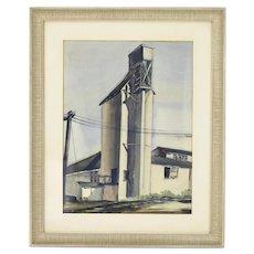 Circa 1940's Original Watercolor Painting Railside Grain Elevator sgnd Freedman