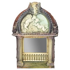 Vintage Marc Sijan Ceramic Mirror Cherubs Neoclassical Architectural Artifacts