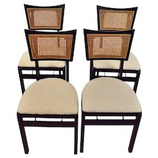 Vintage Mid Century Modern Stakmore Folding Caned Back Dining Chairs