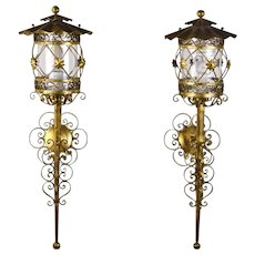 Vintage Pair Spanish Gothic Style Wrought Iron Gilt Metal Wall Sconces